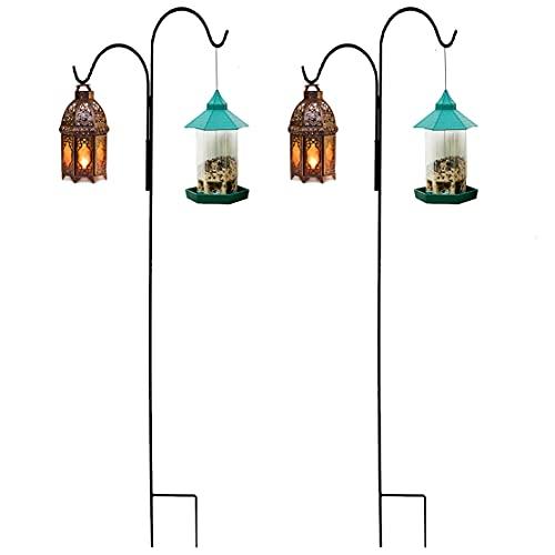 XNX 2 ganchos de pastor, estaca de jardín de metal con prostituta para luces solares, faroles, luces de Navidad, cestas de plantas de boda, bola de flores (doble gancho-140 m/55 pulgadas)