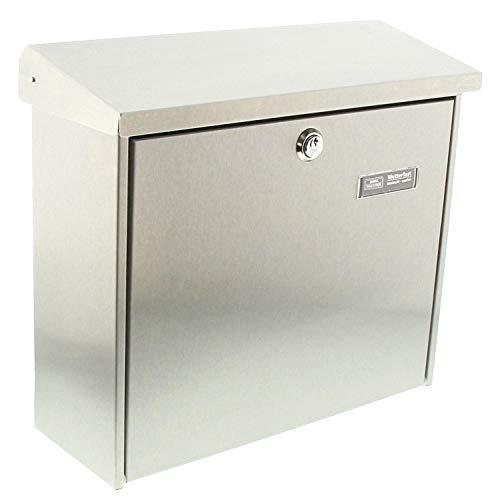 Burg-Wächter Edelstahl-Briefkasten mit aufklappbarem Regendach, A4 Einwurf-Format, EU Norm EN 13724, Comfort 3913 Ni