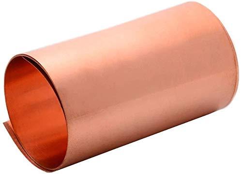 Hanwu 2pc 99,9% reines Kupfer Folienblatt dünne Cu-Metallfolienrolle,0.2mmx300mmx100mm