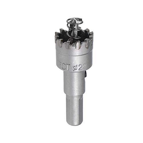 Cortador de orificio de carburo de 22 mm, sierra TCT para chapa de acero inoxidable, dientes de carburo de alta densidad