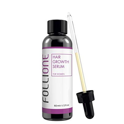 Follione siero crescita capelli donna. Testato dermatologicamente. Trattamento anticaduta e ricrescita facile capelli donna. Fornitura per un mese.