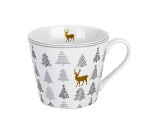 Krasilnikoff - Becher, Tasse mit Henkel - Happy Cup - Christmas Trees with Deer - weiß, grau, Gold - ca. 400 ml - Höhe: 9 cm