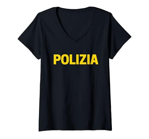 Mujer Polica local Uniforme de la polica de Estado La Polica Camiseta Cuello V