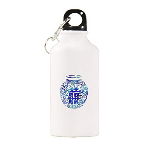 VINMEA Funny Stainless Steel Sports Water Bottle Ming Vase, Double Happiness, Blue and White China Vase, Watercolor Ginger Jar Sports Water Bottle with Carabiner Clip, 20 oz