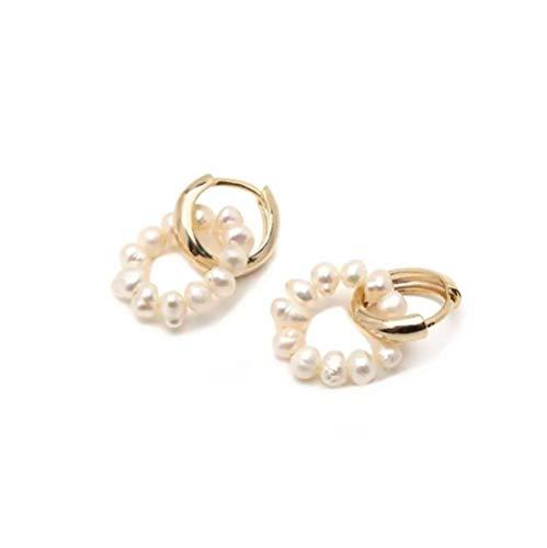 Yhhzw Pendientes De Aro De Perlas De Agua Dulce De Doble Círculo Pendientes De Aro De Perlas Pequeñas En Capas Pendientes Delicados Y Bonitos Para Mujer