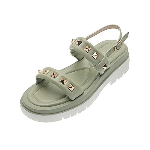 Rails Sandalias de cuña Casuales para Mujer Sandalias de Plataforma con Correa de Tobillo de Moda Sandalias Planas de Punta Abierta Sandalias de Hebilla de Tobillo de cuña de Moda
