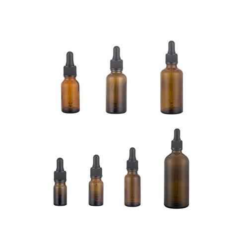 JER 7pcs Pratiques Huiles essentielles Bouteilles 5/10/15/20/30/50 / 100ML Brown Verre Dropper Glass Eye Dropper Rechargeables pour Home Voyage Produits Pratiques