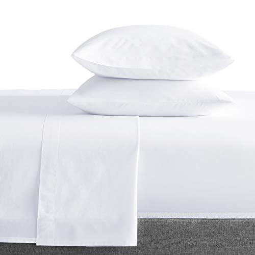 Bokser Home Sateen Queen Bed Sheets Set, White — 100% Long Staple Cotton | Luxurious, Ultra Soft, 500 Thread Count Sateen Weave | Extra Deep Pockets | Certified Chemical-Free