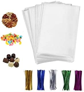 200 Pcs 4x6 Clear flat Cello/Cellophane Treat Bags for Gift Wrapping, Bakery, Cookie, Candies, Dessert, Party Favors Packaging, with color Twist Ties!