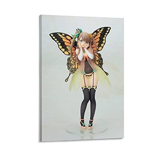 """Póster decorativo de anime con diseño de mariposas y texto en inglés """"Dowl"""" (50 x 75 cm)"""