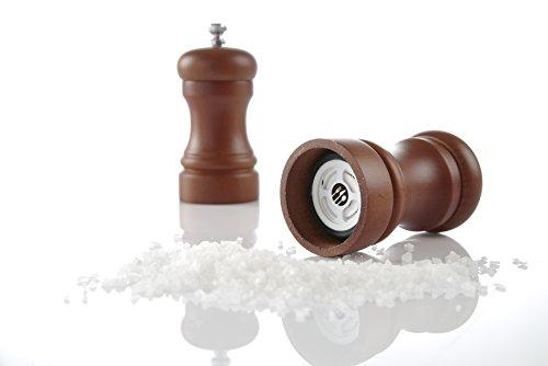 HENDI Salzmühle, Walnuss, einstellbar in 4 Stufen von fein bis grob, Salzstreuer, ø48x(H)100mm, ABS Kunststoff