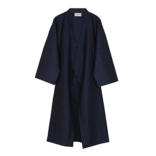 Fancy Pumpkin Kimono japonés Robe Long Yukata Pijamas, color Azul marino, -Talla M