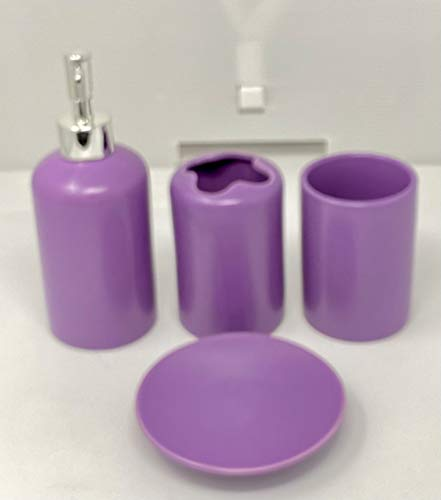 WPM 4 Piece Ceramic Bathroom Accessories Set - Purple - Our Complete Bath Decor Kit Includes Designer Soap or Lotion Dispenser - Toothbrush Holder - Tumbler - Soap Dish