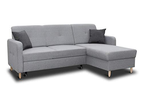 Ecksofa Oslo mit Schlaffunktion und Bettkasten - Scandinavian Design Couch, Sofagarnitur, Couchgarnitur, Polsterecke, Holzfüße (Grau (Inari 91 + Inari 94), Ecksofa Rechts)
