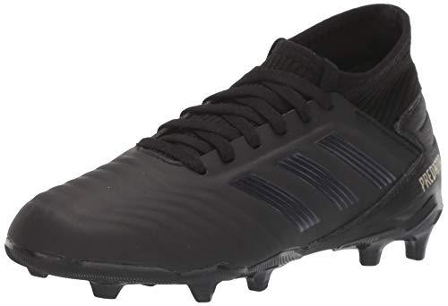 adidas Unisex-Kid's Predator 19.3 Firm Ground Soccer Shoe, Black/Black/Gold Metallic, 4 M US Big Kid