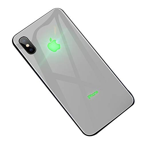 Twnhmj Glowing iPhone Xs Max Case,iPhone Xs/X Cases,Color Gradient Apple Led Logo Light iPhone XR Case Light Up Logo Case Illuminate Cover Tempered Glass Back Cover Protective Case,B,iPhoneXSMAX