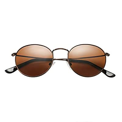 BOURYO Classic Polarized Small Round Sunglasses for Women And Man Metal Frame Mirrored Lens Sun Glasses
