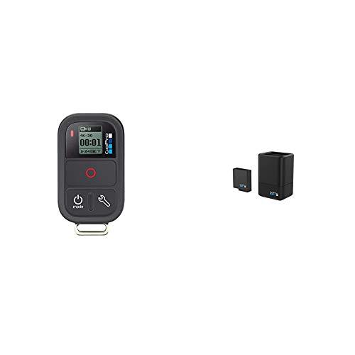 GoPro Smart Remote - Mando a Distancia para videocámaras GoPro Hero + AADBD-001-ES - Cargador de batería Dual y batería, Color Negro