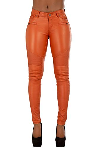 Crazy Lover Damen Kunstleder Leder Look Hosen Damen Biker Stretch Coated Jeans (38, Orange)