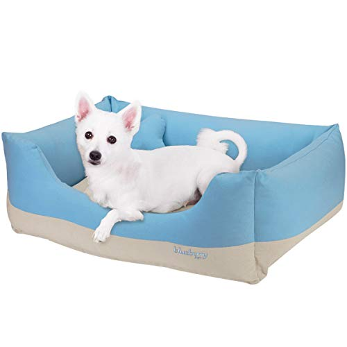 Blueberry Pet Heavy Duty Cotton Linen Blended Canvas Overstuffed Cuddler Bolster Lounge Dog Bed, Removable & Washable Cover w/YKK Zippers, 34' x 24' x 12', 11 Lbs, Baby Blue & Beige Color-Block