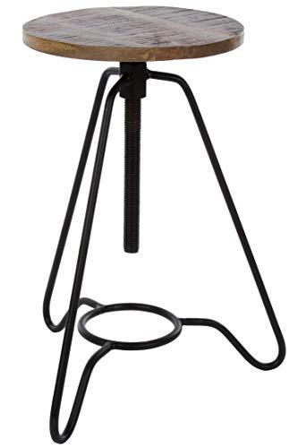 elbmöbel Sitzhocker im Industrial Design braun schwarz hoch Pflanztisch Metall Schminkhocker für Schminktisch Landhaus (3 Beine)