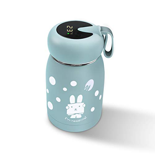 Botella de agua aislada al vacío con pantalla de temperatura, taza inteligente de acero inoxidable de 320 ml con bonito conejo, mini taza de viaje para niños, niñas y mujeres, azul