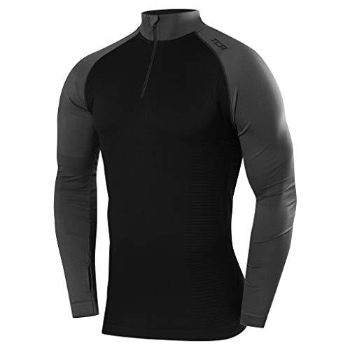 TCA Legend SuperKnit Half Zip - Camiseta de running con cuello para hombre, Hombre, color negro / gris oscuro, tamaño M