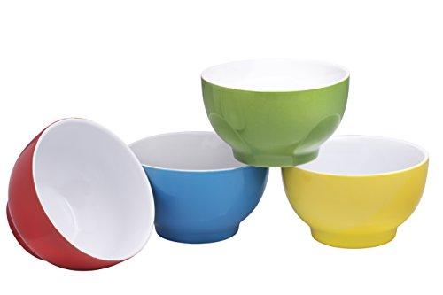Bruntmor Tazones de cerámica para uso diario, para cereal, sopa, helado, ensalada, pasta, fruta, 591 ml, juego de 4 , Multicolor, 591.47 mililitros