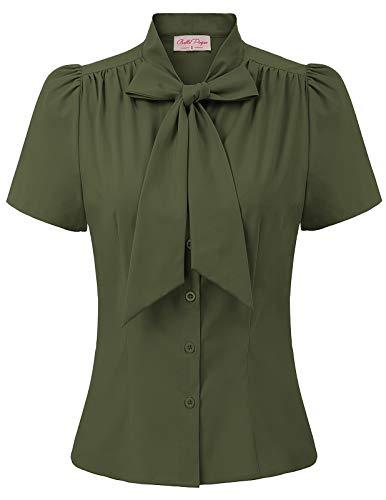 Frauen Alltag büro t-Shirt Armee grün Oberteil Casual Sommer Tops Mode Bluse L BP819-7