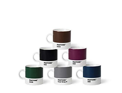 Pantone Porzellan Espressobecher 6er-Set, 6 Espressotassen à 120 ml, Coffee, mit Henkel, spülmaschinenfest, Naturfarben