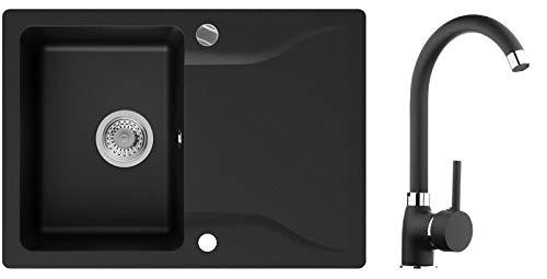 PRIMAGRAN Fregadero de Granito - Filadelfia, Lavabo Cocina Un Seno XL + Grifo + Sifón Automático, Fregadero Empotrado 70 x 50 cm, Negro