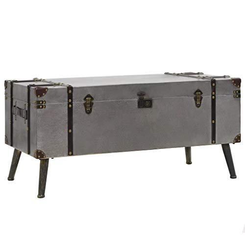Tidyard Tavolino da caffè in MDF e Alluminio, Stile retrò, Grande Scatola di Immagazzinaggio, Argento 102 x 51 x 47,5 cm
