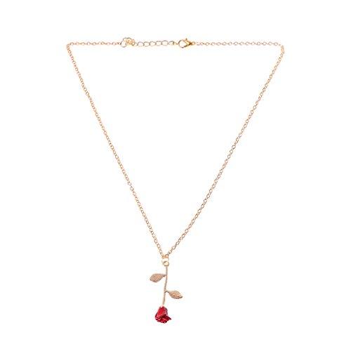 VIccoo Schöne und Biest Goldene Gefüllte 3D Rote Rose Anhänger Halsketten Für Frauen Schmuck - Gold