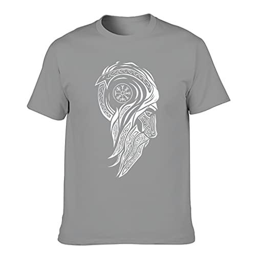 STELULI Camiseta de algodón para hombre, diseño de símbolo vikingo, divertido y elegante, ajuste moderno