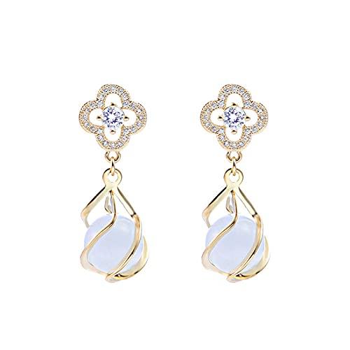 YULINGSTYLE Pendientes Mujeres Sterling Silver S925 Temperamento Femenino Drop Pendientes Opal Pendientes de Moda Joker Oro Pendientes-1