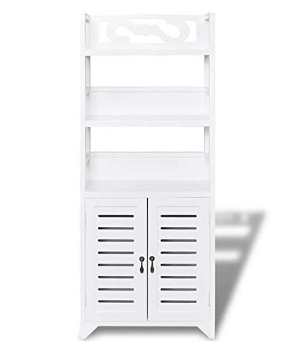 Zerone Mobile a colonna da bagno, armadio in legno con 2 ante e 3 ripiani, bianco, 46 x 24 x 117,5 cm