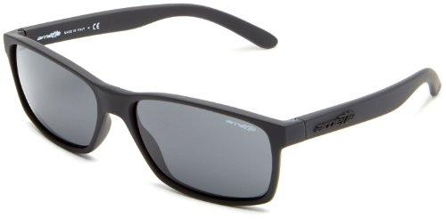 Arnette Men's AN4185 Slickster Rectangular Sunglasses, Fuzzy Black/Grey, 59 mm
