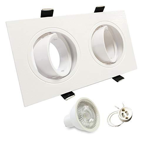 Foco empotrable doble orientable incluye bombillas GU10 5W y casquillos. Luz de techo. Disponible luz blanco frio, blanco neutro o blanco cálido. Bombillasled360 (Blanco neutro)