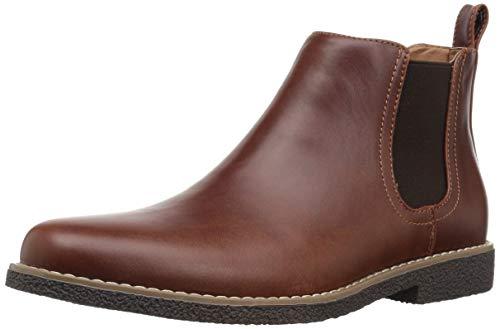 Deer Stags Boy's Zane Memory Foam Dress Comfort Chelsea Boot, Redwood/Dark Brown, 6 Medium US Big Kid