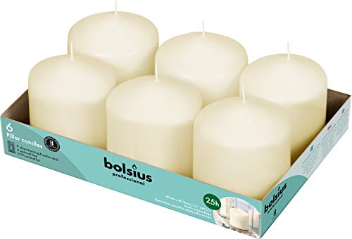 BOLSIUS Ivory Pillar Candles – 3x3 Unscented Candle Set of 6 – Dripless, Smokeless, and Clean Burning Household Dinner Candles – Perfect for Weddings, Parties, Dinners Decorative Candles