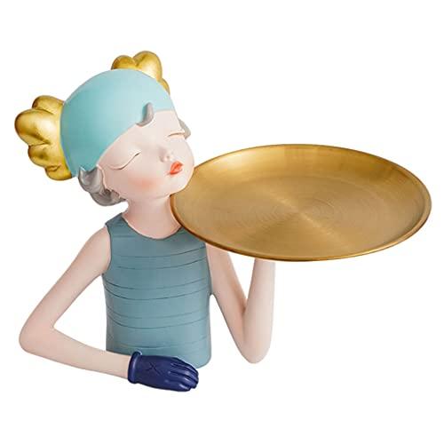 Baoblaze Estatua de Resina para niñas, artesanía, Escultura, Llave, Aperitivos, Organizador de Maquillaje, Bandeja de Almacenamiento Junto a la Cama, Azul