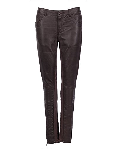 JCC Damen Lederhose Mit Reißverschluss Am Beinabschluss 9180 Dark Brown 34