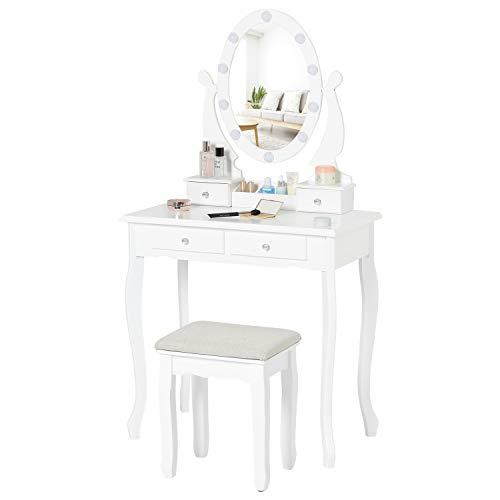 Tiptiper Coiffeuse avec 10 LED Ampoules, Ensemble de Coiffeuse avec Miroir Ovale et Tabouret, Table de Maquillage pour Filles, Enfants, Femmes (Blanc)
