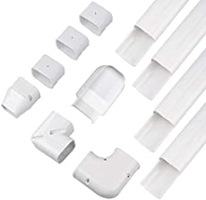"""AC Parts 3\\"""" W 14Ft Air Conditioner Decorative PVC Line Cover Tubing Kit for Ductless Mini Split Central Air conditioner & Heat Pump Systems"""