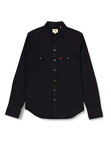 Levi's Barstow Western Camisa vaquera, Negro (Black 0216), X-Small para Hombre