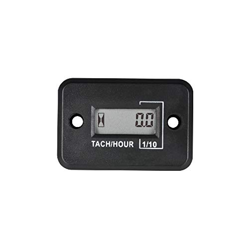 Jayron Tach-Medidor de Horas,Tacómetro Inductivo LCD Digital,Potente Temporización,Medición de RPM,Diseño Impermeable,para Motor de Gasolina,Cortacésped,Motocicleta (2/4 tiempos) (negro)