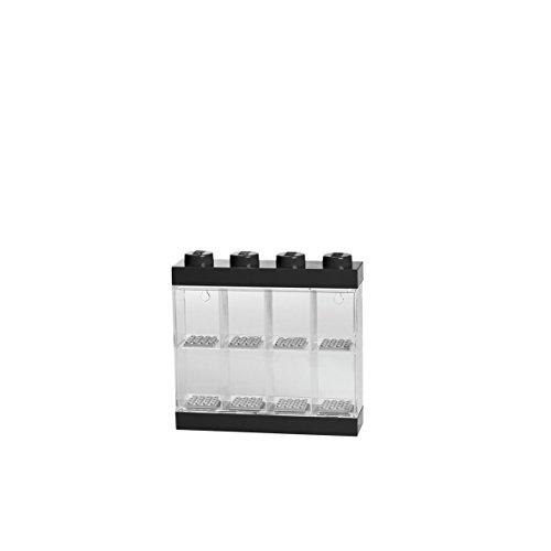 LEGO Minifiguren-Schaukasten für 8 Minifiguren, Stapelbare Wand- oder Tischbox, schwarz