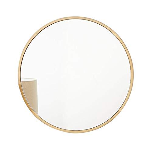 Espejo Redondo montado en la Pared Marco de Metal Dorado Hierro Arte Baño Maquillaje Espejo Pintura de Alta Temperatura con Kit Completo (30cm / 11.8Inch ~ 80cm / 31.4Inch