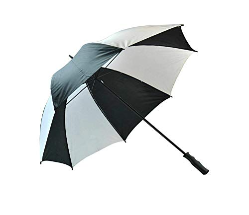 Umbrella Unisex Large Golf Windproof Canopy Rain Sun Strong Wind Shield Brolly Protective Windy Days Comfortable Grip Handle Durable (Black)