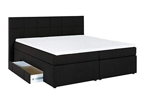 Furniture for Friends Möbelfreude® Boxspringbett Andybur mit Bettkasten Schwarz 180x200 cm H2/H3 inkl. Visco-Topper, 7-Zonen Taschenfederkern-Matratze